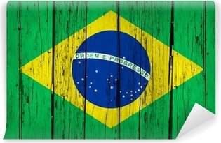 Vinyl-Fototapete Brasilien-Flagge Wood Background