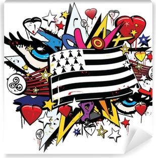 Vinyl-Fototapete Breizh Bretagne Drapeau tag Graffiti Pop-Kunst-Abbildung