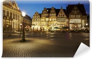 Vinyl-Fototapete Bremen - Rathausplatz am Abend