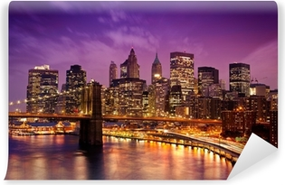 Vinyl-Fototapete Brooklyn Bridge über Manhattan