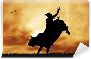 Vinyl-Fototapete Bull Fahrer bei Sonnenuntergang