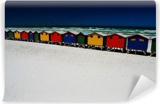 Vinyl-Fototapete Bunte Strandhütten. Muizenberg, Südafrika
