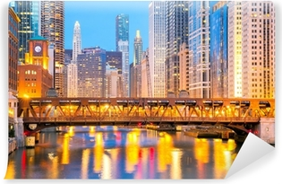 Vinyl-Fototapete Chicago Innenstadt und Fluss