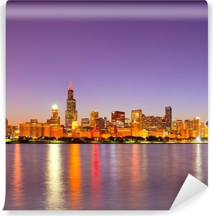 Vinyl-Fototapete City of Chicago USA, Sonnenuntergang buntes Panorama Skyline