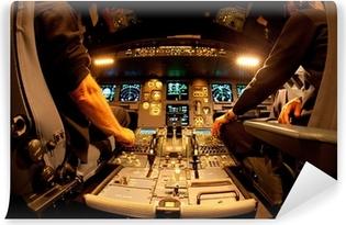 Vinyl-Fototapete Cockpit bei Nacht
