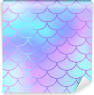 Aufkleber Coole Blaue Fischschuppe Muster Vektor Textur Nahtlose