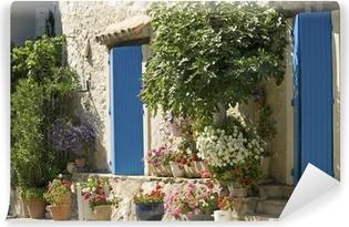 Vinyl-Fototapete Cottage, blaue Tür mit Blumen in der Provence, Frankreich.