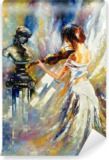 Vinyl-Fototapete Das Mädchen spielt eine Violine