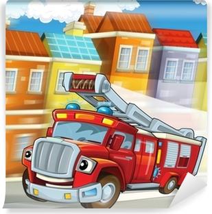 Vinyl-Fototapete Das rote Feuerwehrauto - Pflicht - Illustration für die Kinder