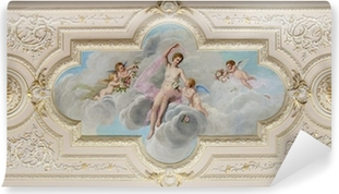 Vinyl-Fototapete Deckenfresko mit Figur einer Frau und kleine Engel
