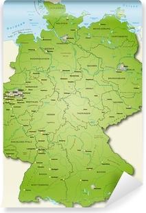 Vinyl-Fototapete Deutschland Übersichtskarte grün 40cm x 52cm