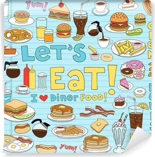 Vinyl-Fototapete Diner Essen Notebook Doodles Vector Icon Set