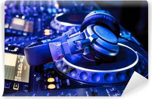 Vinyl-Fototapete DJ-Mixer mit Kopfhörern
