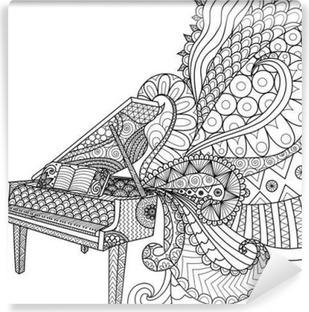 Vinyl-Fototapete Doodles Design Klavier für Malbuch für Erwachsene und Design-Element - Vektorgrafik