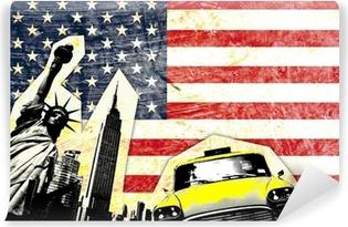 Vinyl-Fototapete Drapeau américain avec statue de la liberté Taxi jaune