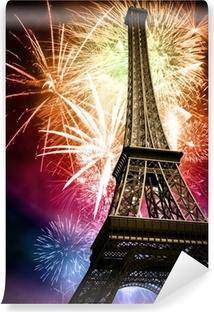Vinyl-Fototapete Eiffel mit Feuerwerk