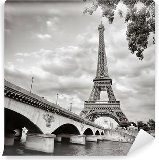 Vinyl-Fototapete Eiffelturm Ansicht von Fluss Seine quadratischen Format