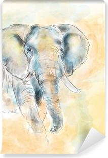 Vinyl-Fototapete Elephant Aquarellmalerei Nachahmung