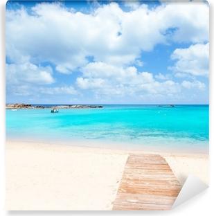 Vinyl-Fototapete Els Pujols Formentera weißen Sand türkisfarbenen Strand