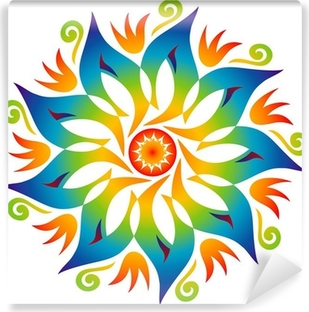 Vinyl-Fototapete Energie-Mandala-Regenbogen-Farben