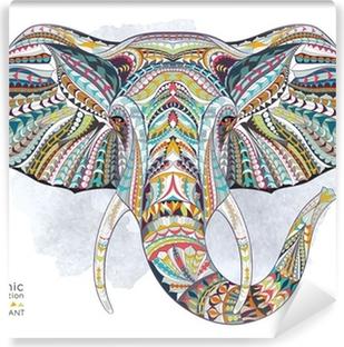 Vinyl-Fototapete Ethnische gemusterten Kopf des Elefanten auf der Grange Hintergrund / afrikanischen / indischen / totem / Tattoo-Design. Verwenden Sie für den Druck, Poster, T-Shirts.
