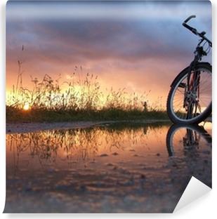 Vinyl-Fototapete Fahrrad in der Pfütze