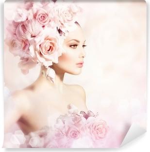 Vinyl-Fototapete Fashion Beauty Modell Mädchen mit Blumen Haar. Braut