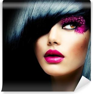 Vinyl-Fototapete Fashion Brunette Model Portrait. Frisur