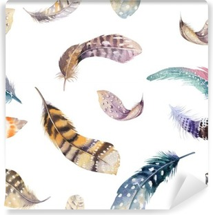 Vinyl-Fototapete Federn wiederholendes Muster. Aquarell Hintergrund mit nahtlose