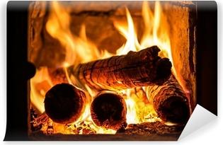 Vinyl-Fototapete Feuer in einem Kamin