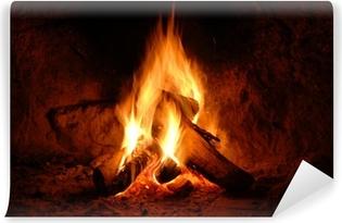 Vinyl-Fototapete Feuer, Kaminfeuer, Flammen,
