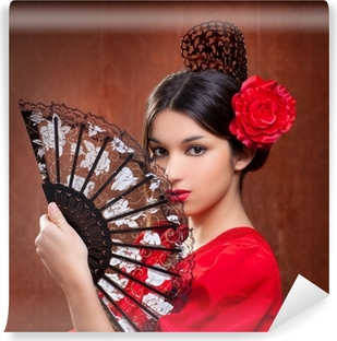 Vinyl-Fototapete Flamenco-Tänzerin Frau gipsy rote Rose spanisch fan