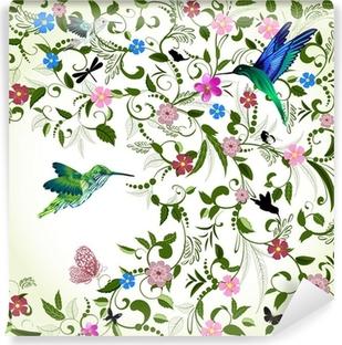 Vinyl-Fototapete Floral Hintergrund mit Vogel