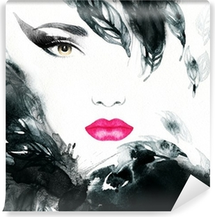 Vinyl-Fototapete Frau Porträt. abstraktes Aquarell. Mode Hintergrund