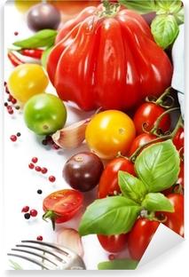 Vinyl-Fototapete Frischen Tomaten und Kräutern - gesunde Ernährung Konzept