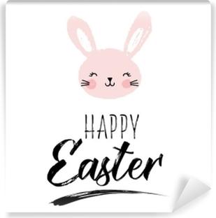 Aufkleber Frohe Ostern Grußkarte Poster Mit Niedlichen Süßen Hand
