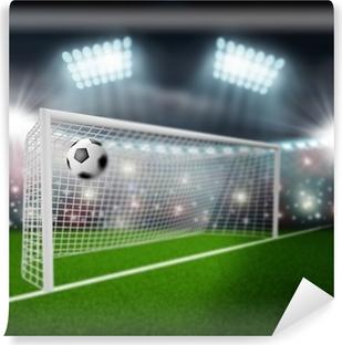 Vinyl-Fototapete Fußball Ball fliegt ins Tor