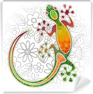 Vinyl-Fototapete Gecko Floral Tribal Art