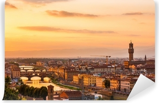 Vinyl-Fototapete Goldener Sonnenuntergang über dem Fluss Arno, Florenz, Italien
