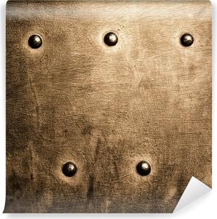 Vinyl-Fototapete Grunge Metallplatte gold braun Nieten Schrauben Hintergrund Textur