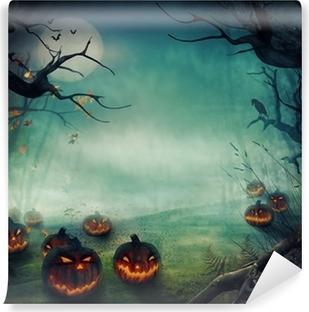 Vinyl-Fototapete Halloween-Design - Forest Kürbisse
