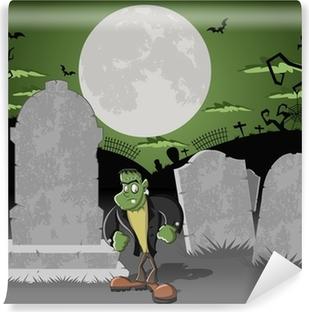 Vinyl-Fototapete Halloween-Friedhof mit Gräbern und lustigen Cartoon frankenstein