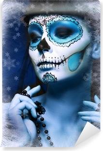 Vinyl-Fototapete Halloween Make Up Zuckerschädelentwurfs
