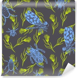 Vinyl-Fototapete Hand gezeichnet Libelle und Käfer Tinte nahtlose Muster kritzeln. Skizziert blau indigo Insekten mit grünen Zweigen auf dunklen violetten Hintergrund.