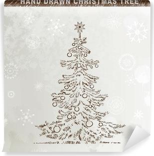Weihnachtsbaum Gezeichnet.Aufkleber Hand Gezeichnet Weihnachtsbaum Mit Kugeln Pixers Wir
