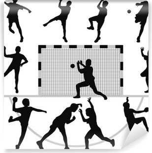Vinyl-Fototapete Handball-Silhouette Vektor