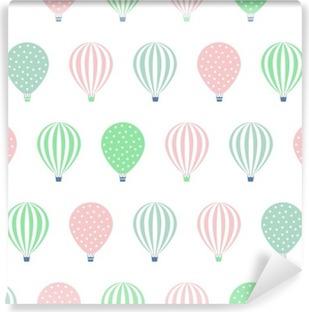 Vinyl-Fototapete Heißluftballon nahtlose Muster. Baby-Dusche Vektor-Illustrationen auf weißem Hintergrund. Tupfen und Streifen. Pastellfarben Heißluftballons Design.