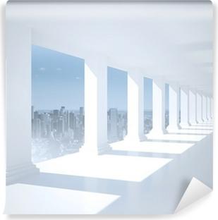 Vinyl-Fototapete Helle weiße Halle mit Säulen