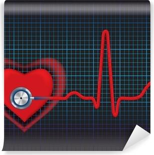 Vinyl-Fototapete Herz-Symbol und Stethoskop mit normalem EKG Linie