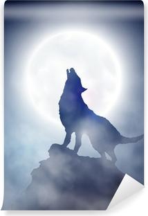 Vinyl-Fototapete Heulender Wolf